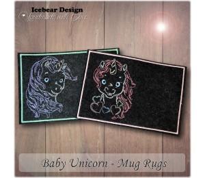 ITH - Mug Rugs Baby Unicorn LineArt