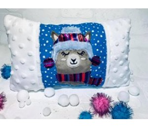 Stickdatei - ITH Kissen Winter Lama