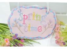Stickdatei ITH - Türschild Spring Time & Doodle Schriftzug
