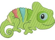 Stickdatei - Chamäleon Reptil incl. Puschendatei