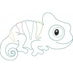 Stickdatei - Chamäleon Reptil Fransenappli