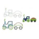 Stickdatei - Traktor Sterne mit Anhänger inkl. Puschendatei