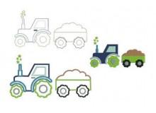 Stickdatei - Traktor Sterne mit Anhänger