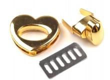 Taschenverschluss HERZ drehbar gold farben