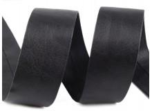 Schrägband Kunstleder 30mm schwarz