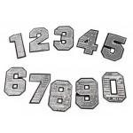 Aufbügler Zahlen mit Pailletten silber