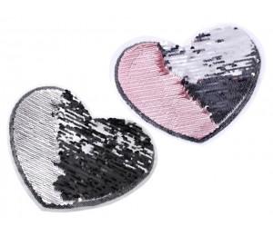 Aufbügler - Wendepailletten Herz groß silber rosa