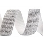 Gummiband Breite 20 mm mit Lurex weiß