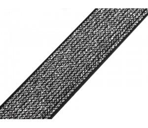 Gummiband Breite 20 mm mit Lurex schwarz