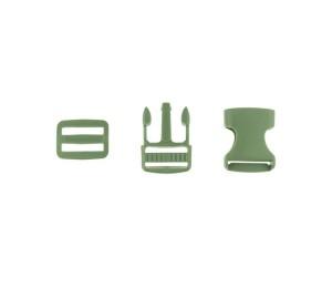 Taschenverschluss Schnalle mit Schieber 2,5 cm oliv
