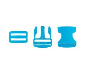 Taschenverschluss Schnalle mit Schieber 3,8 cm aqua blau