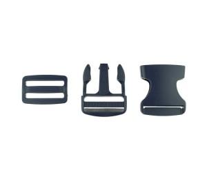 Taschenverschluss Schnalle mit Schieber 3,8 cm schwarz