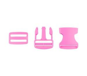Taschenverschluss Schnalle mit Schieber 3,8 cm pink