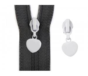 Schieber Zipper zu Spiralreißverschlüsse 5 mm Herz weiß