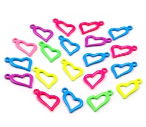 Anhänger aus Metall 11x20 mm Herz neon
