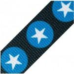 Gurtband Sterne dunkeltürkis blau 30mm