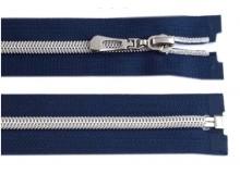 Reißverschluss 50cm blau silber farben Metallschiene