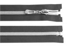 Reißverschluss 50cm grau silber farben Metallschiene