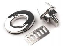 Taschenverschluss oval drehbar 35mm - silber farben