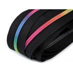 Endlos Reißverschluss 6mm Regenbogen bunt mit 2 Schiebern