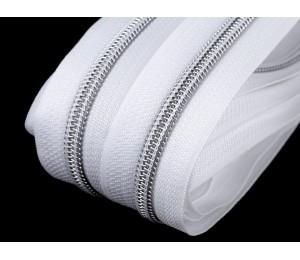 Endlos Reißverschluss 6mm weiß silberfarben mit 2 Schiebern