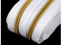 Endlos Reißverschluss 6mm weiß goldfarben