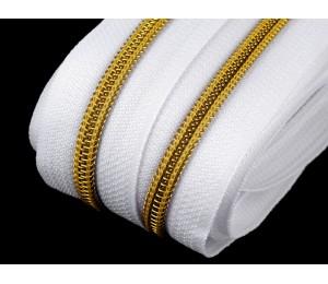 Endlos Reißverschluss 6mm weiß goldfarben mit 2 Schiebern