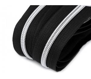 Endlos Reißverschluss 6mm schwarz silberfarben mit 2 Schiebern