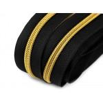 Endlos Reißverschluss 6mm schwarz goldfarben mit 2 Schiebern