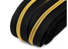 Endlos Reißverschluss 6mm schwarz goldfarben