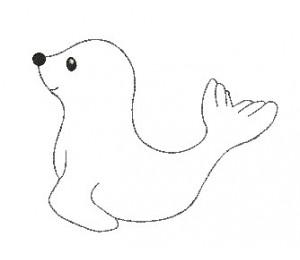 Stickdatei - Schneetiere Robbe