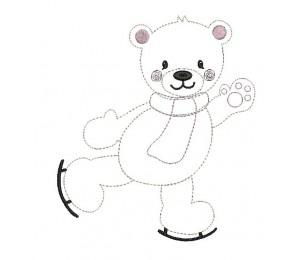 Stickdatei - Schneetiere Eisbär Schlittschuhbär