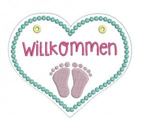 Stickdatei - ITH Türschild Willkommen Baby Füße