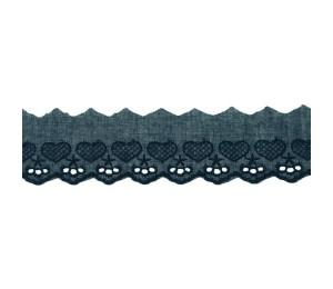 Baumwollspitze Broderie Herzen 50mm dunkelblau