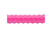 Baumwollspitze Broderie Herzen 50mm pink