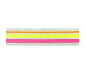 Gummiband Streifen 40mm lurxex silber gelb pink
