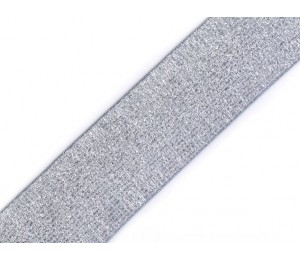Gummiband Breite 40 mm mit Lurex blau-grau