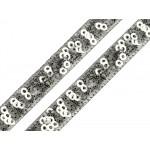 Paillettenborte 13mm silber Holo