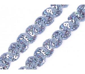 Paillettenborte Wellen 18mm flieder-grau fluoreszierend
