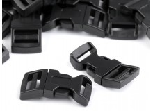 Steckschnalle schwarz - gebogen 15mm