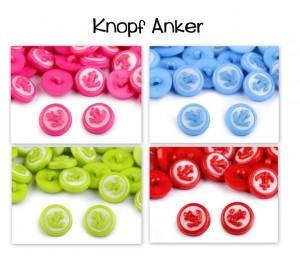 Knopf Anker - lime rosa hellblau rot