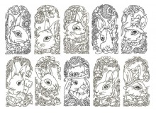 Stickserie - Osterhase Line Art