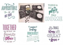 Stickserie - ITH Mug Rugs Quotes