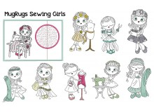Stickserie ITH - Mug Rugs Sewing Girls