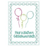 Postkarte - Happy Birthday Luftballons