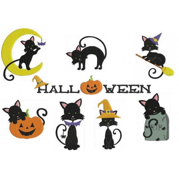 Stickserie Halloween Katze Lollipops For Breakfast