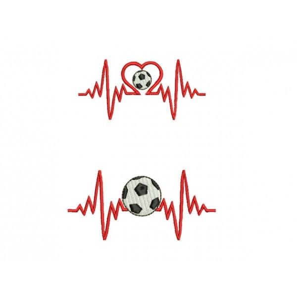 Stickdatei - Herzlinie Fußball - Lollipops for Breakfast