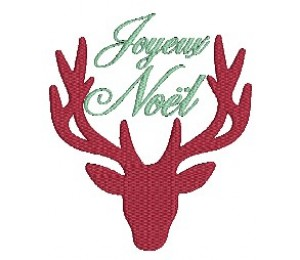 Stickdatei - Fancy Christmas Hirsch Joyeux Noel
