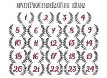 Stickserie - Adventskalender Kranz Zahlen 1-24
