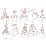 Stickserie - Stylish xmas Gnomes LineArt